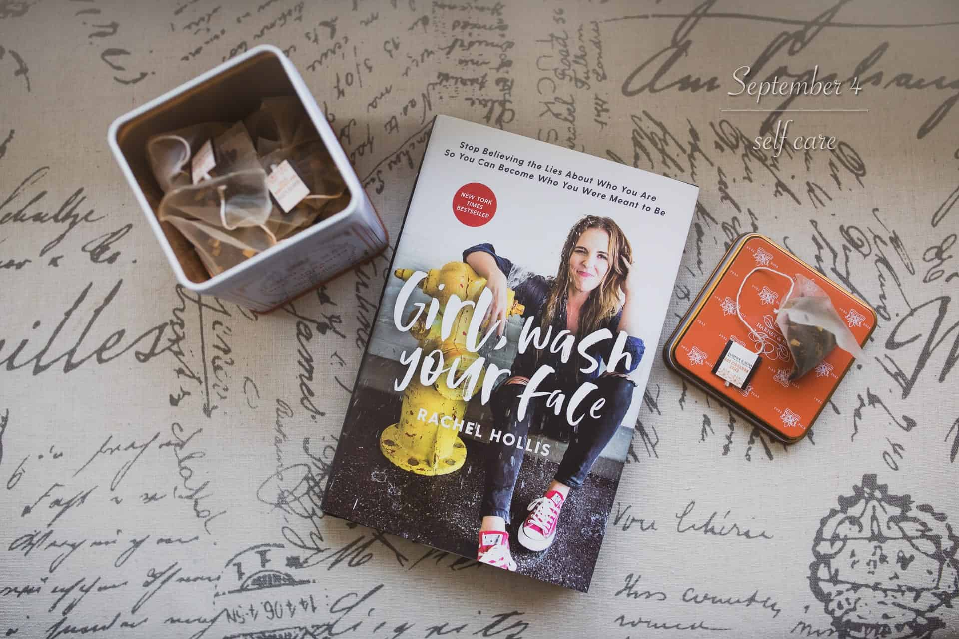 shot of book and tea from above