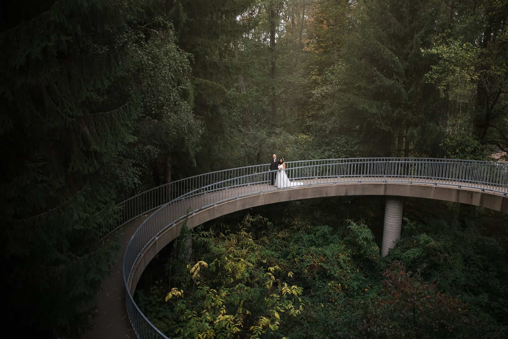 bride and groom standing on a bridge in a forest