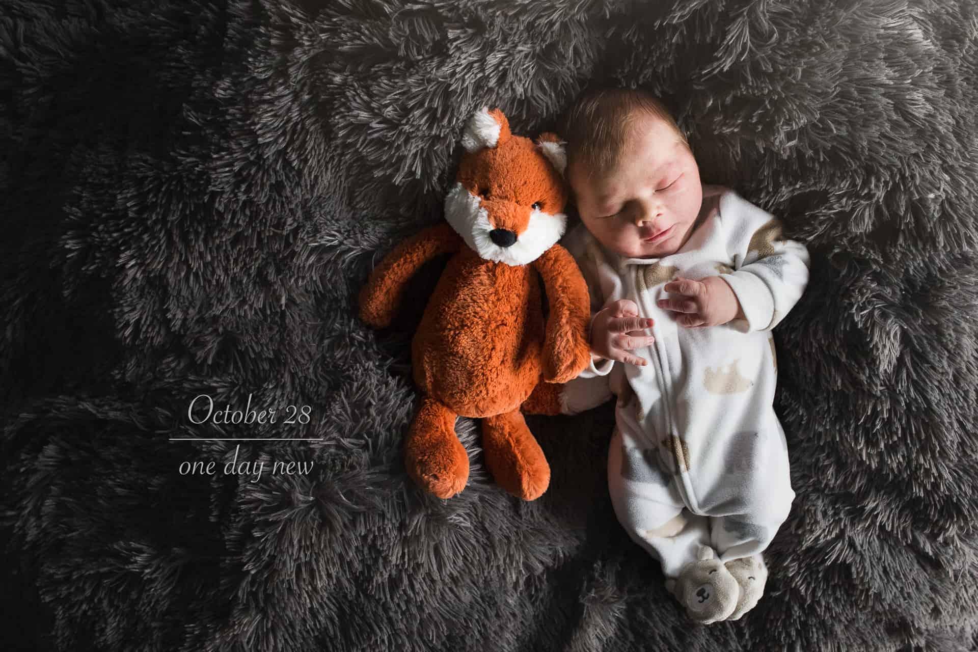 newborn baby in a sleeper beside a stuffed box on a grey blanket
