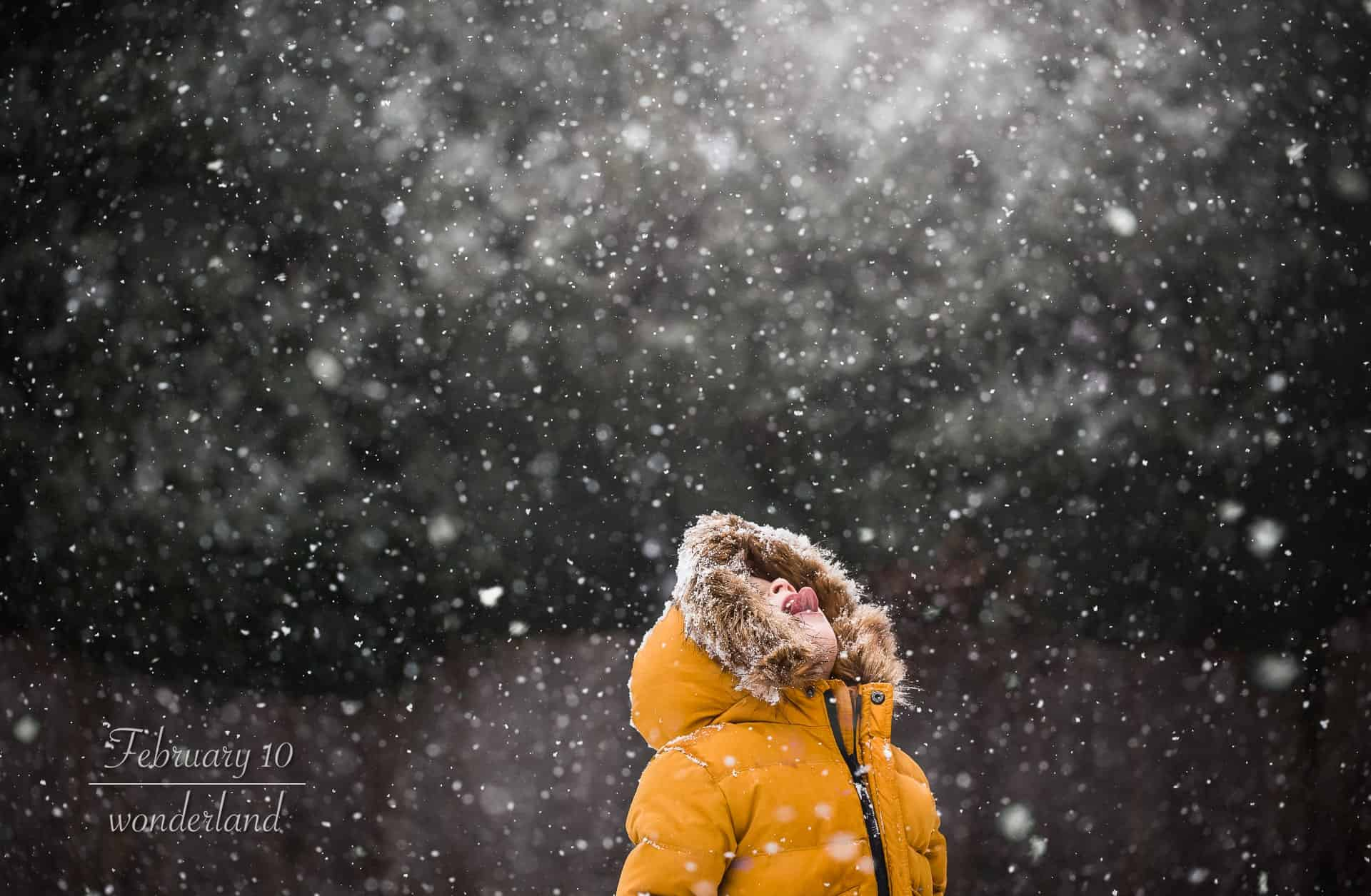 toddler boy in yellow coat and fur lined hood with his face up to the sky catching snowflakes on his tongue