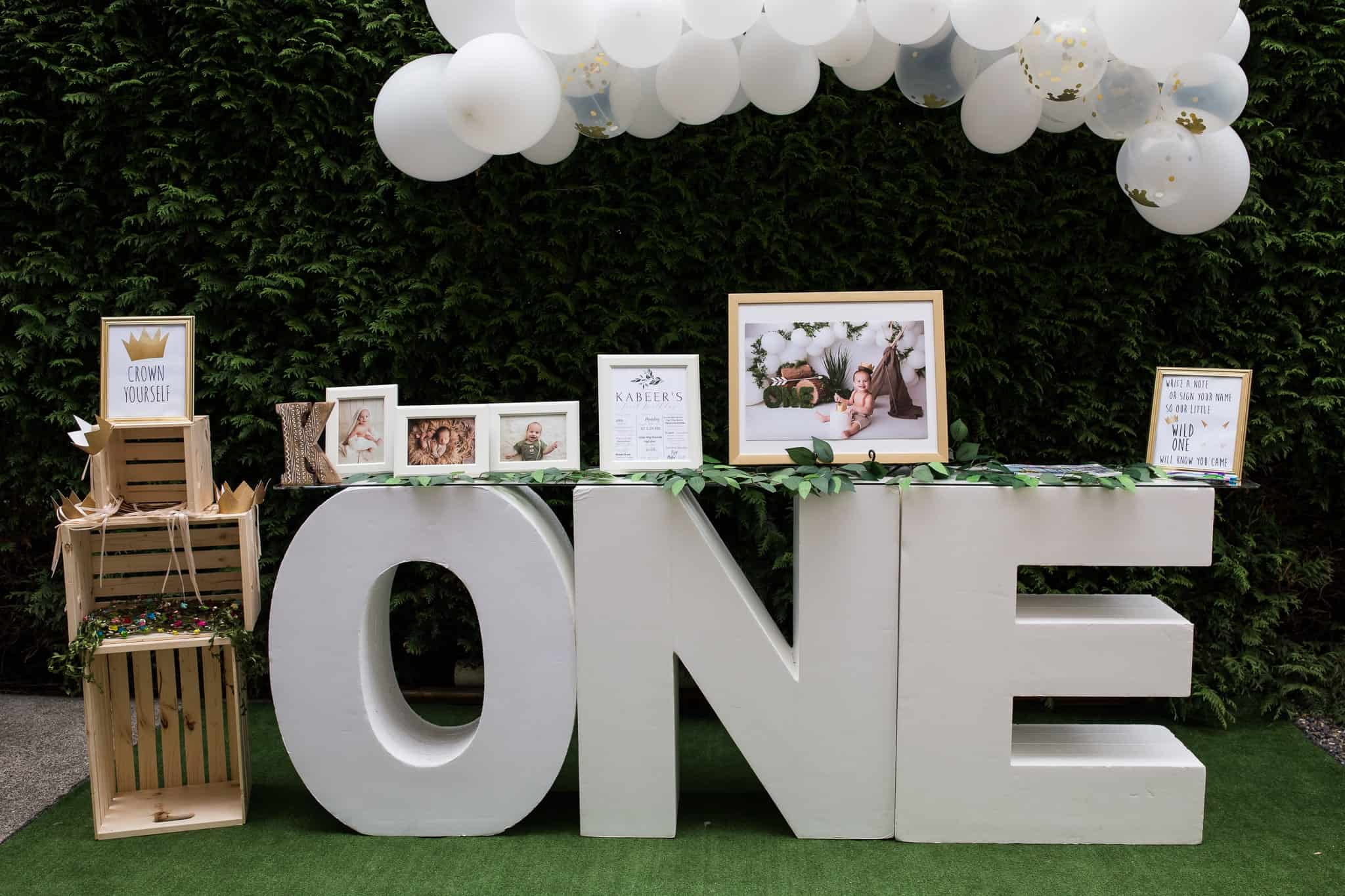 tale of photographs and decor for first birthday