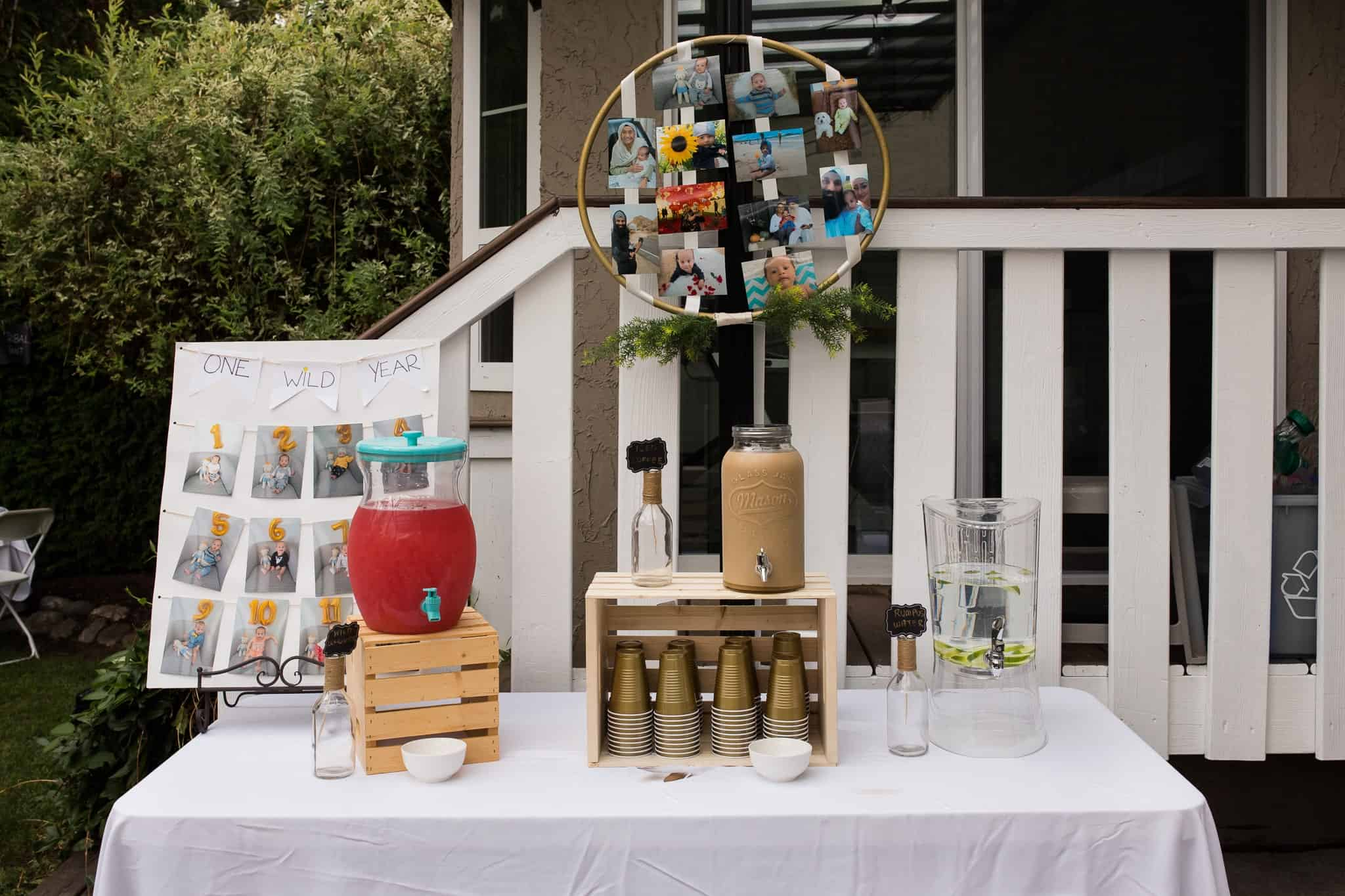 drink station for first birthday party