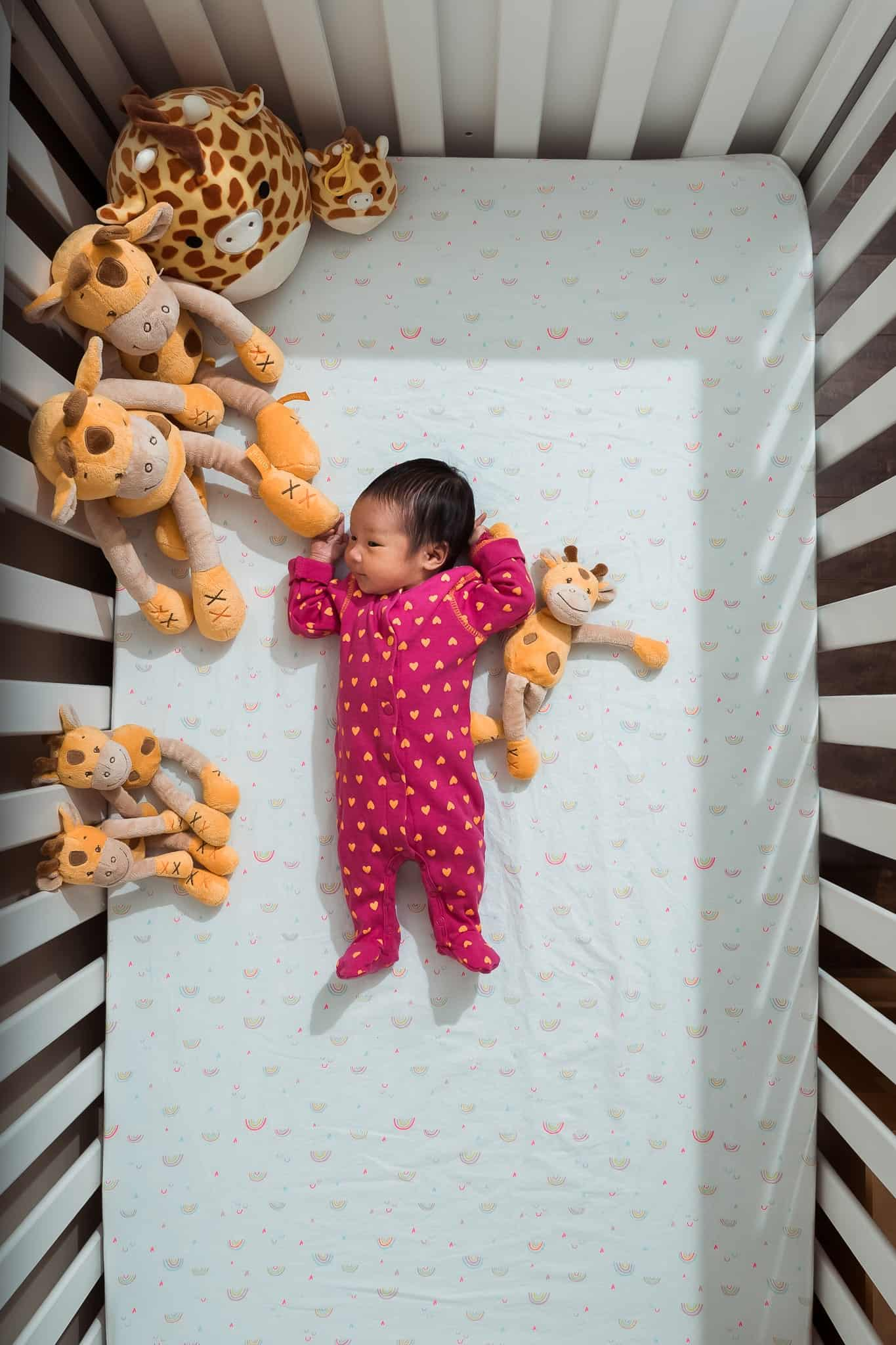 newborn baby in crib with stuffed giraffes