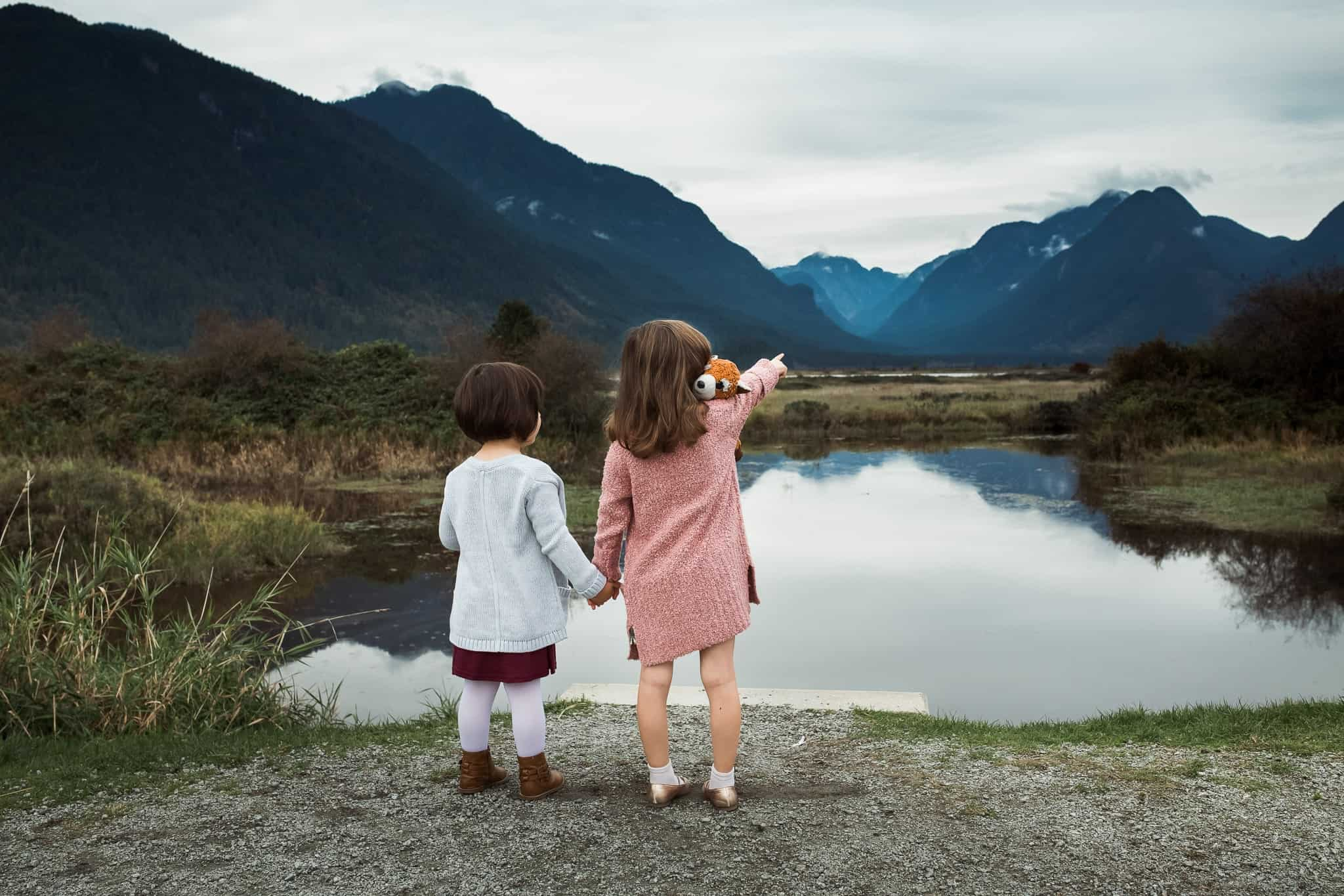 two toddler girls holding hands staring out across a lake at the mountains