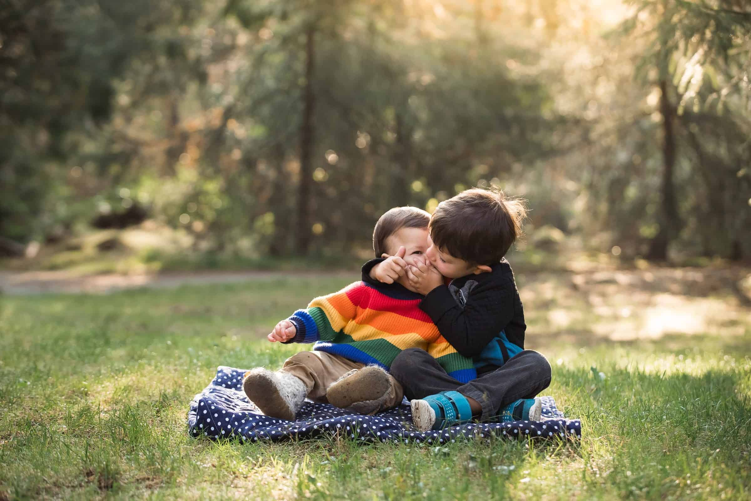 two little boys sitting on a blanket with big brother kissing baby brother in sunrise