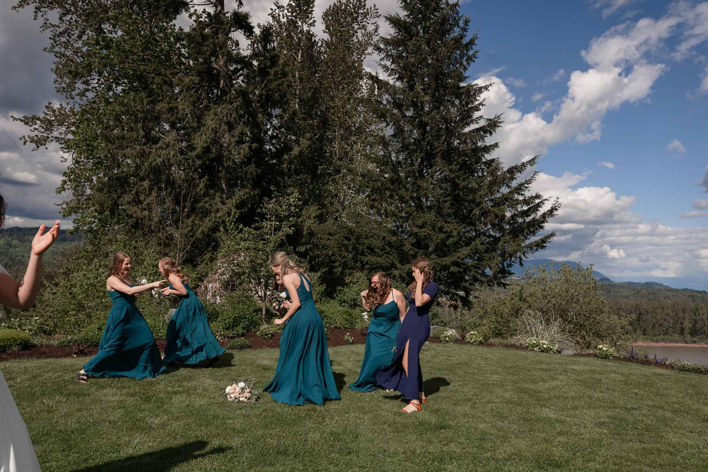 bridesmaids running away from bouquet