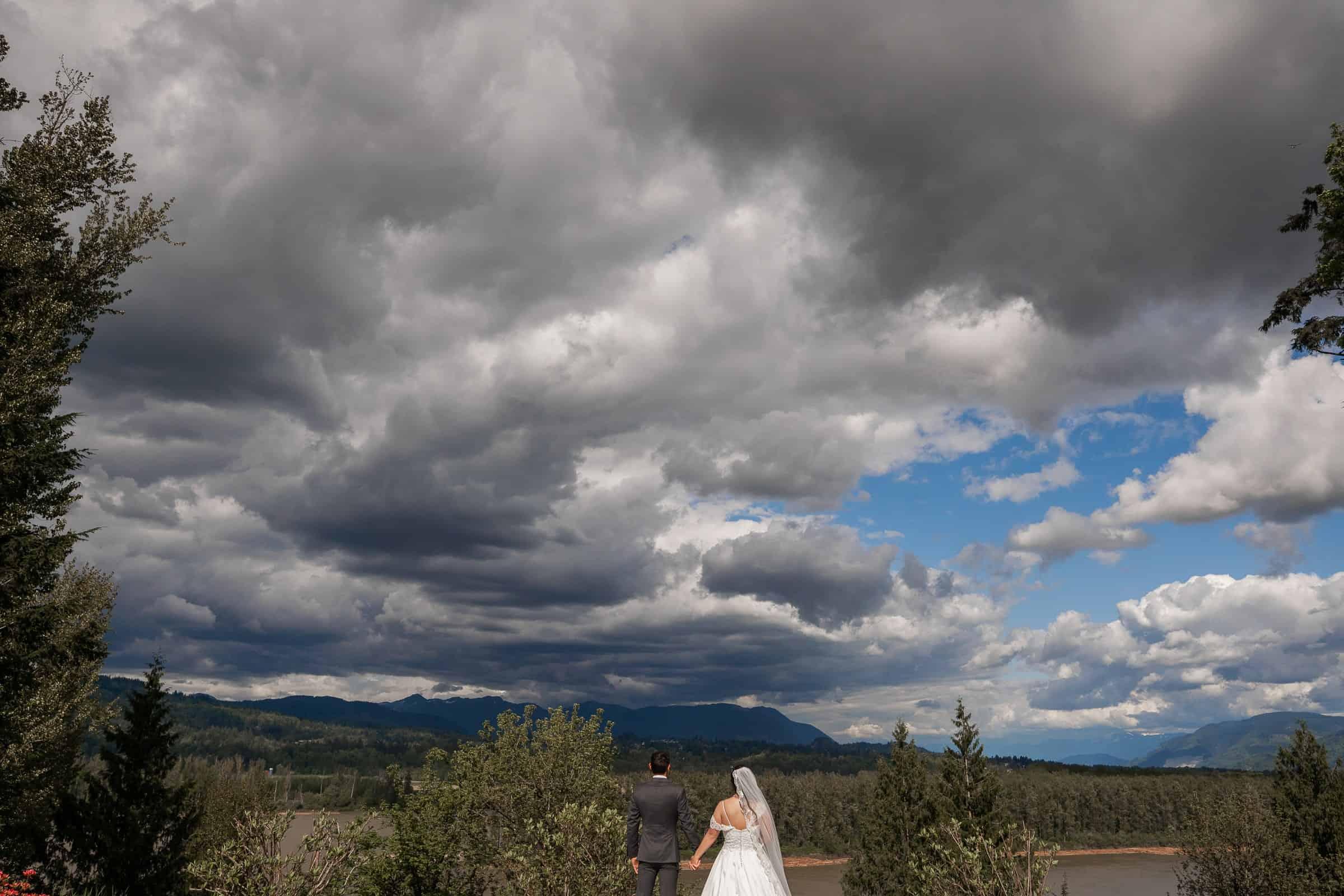 bride and groom overlooking mountain bluff