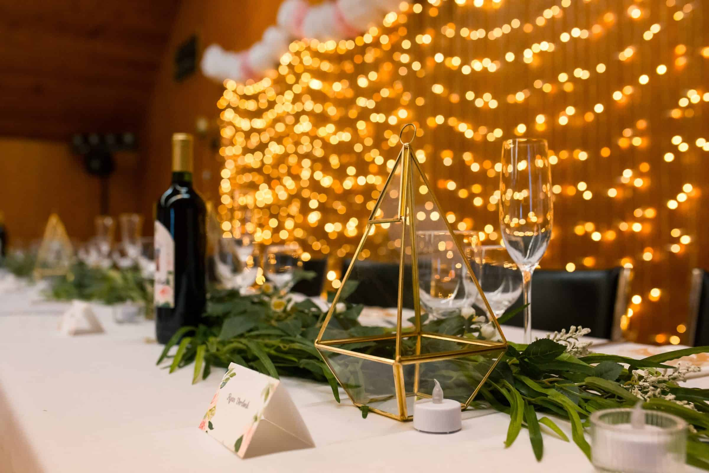 close up of head table details with bokeh in background