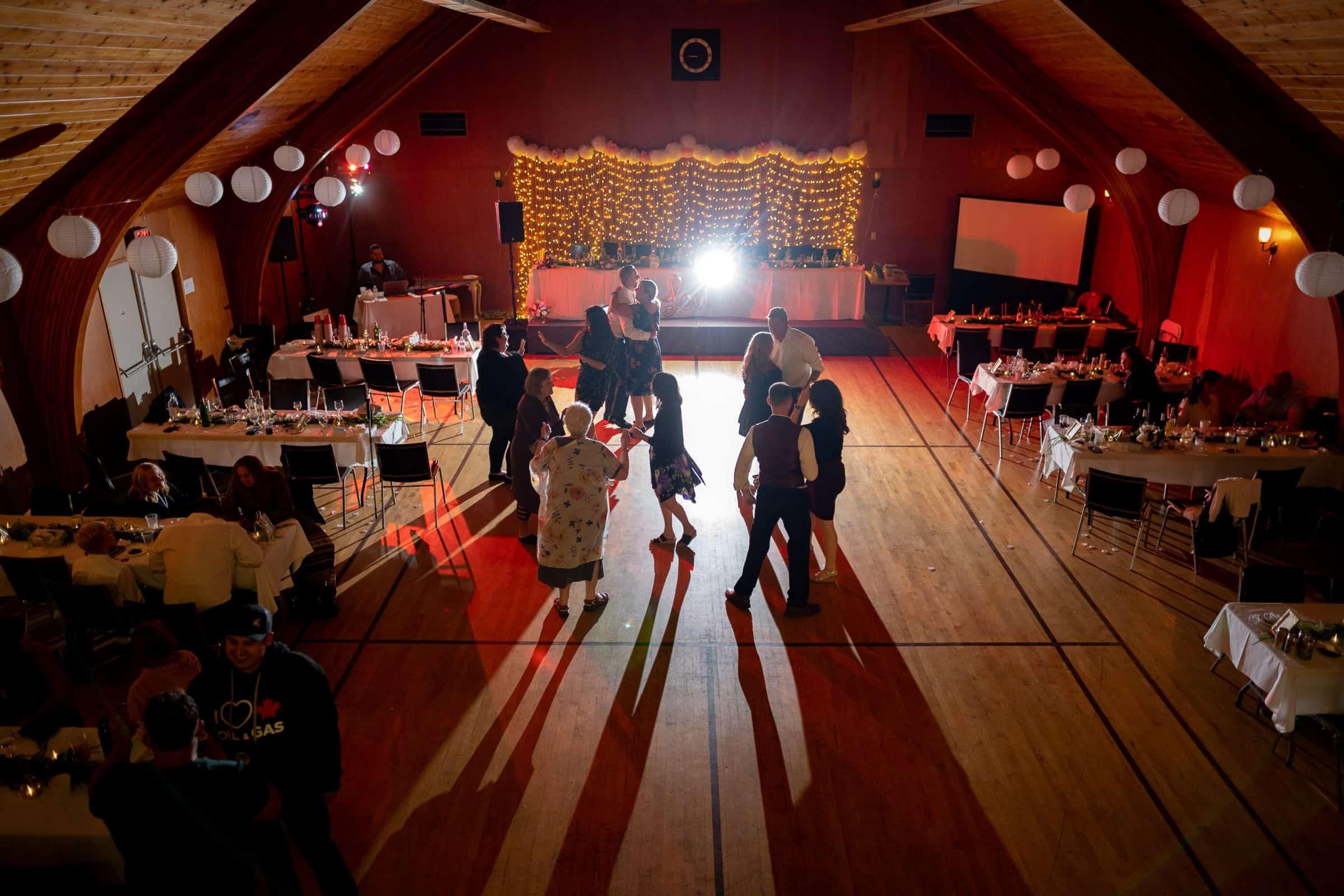 shot of a wedding dance floor from above