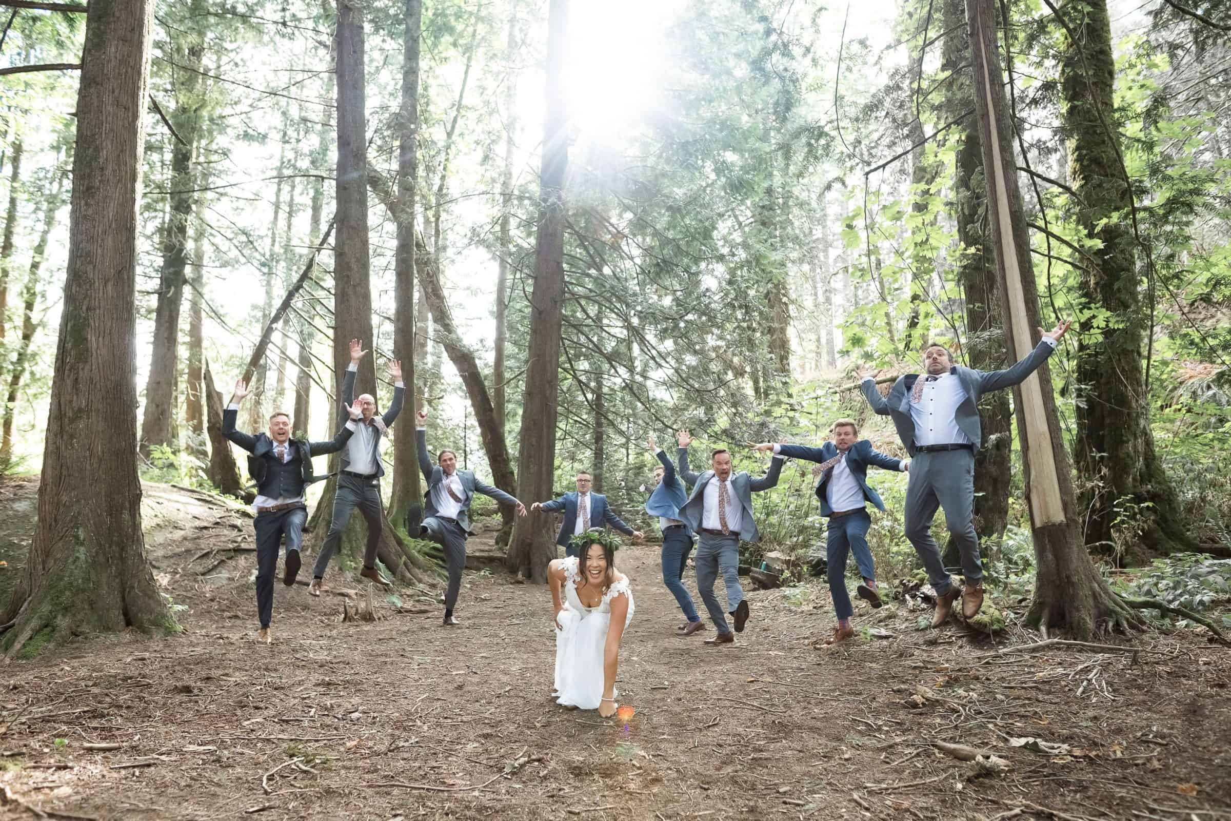bride punching ground like Thor with bridal party flying out behind her