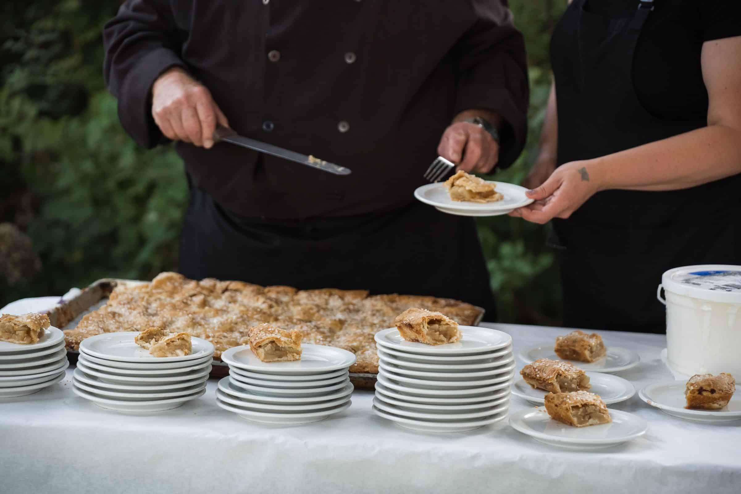 apple pie sitting on dessert plates